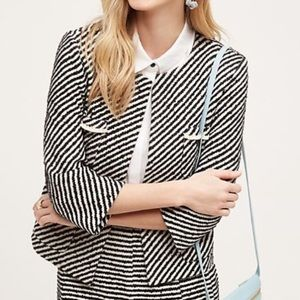 Anthropologie Harlyn Boucle Striped Blazer